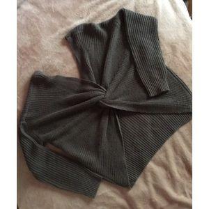 Dark grey twisted back knit sweater